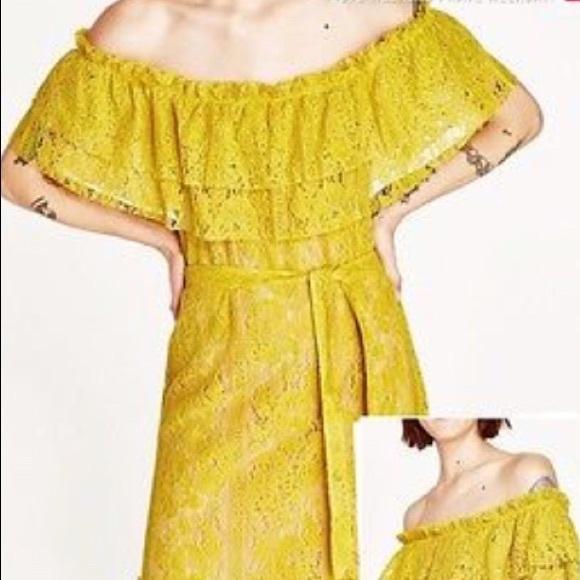 2d7bb8432b Zara lace off shoulder midi yellow dress NWT